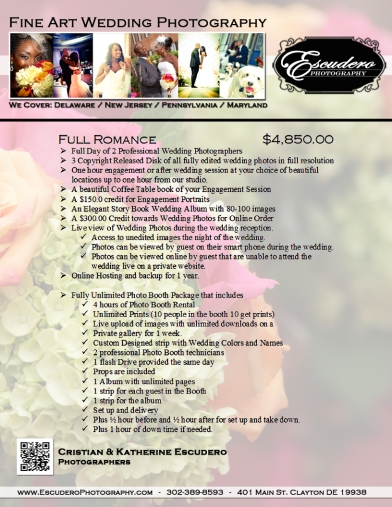 Full Romance Wedding Photography and Photo Booth Package