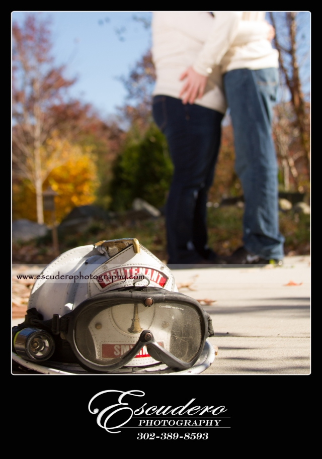 Delaware firefighter engagement portraits